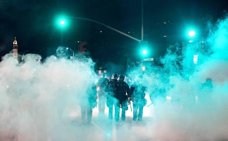 Teargas deployed around the corner from my house 12/7/14, reuters photographer for time.com