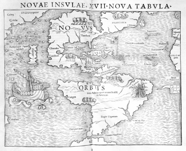 First map to include both American continents, 1540 http://libweb5.princeton.edu/visual_materials/maps/websites/pacific/pacific-ocean/map-pacific-munster-1540.jpg